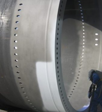 Metalizing on the foundations and the rest of the sections of wind turbine