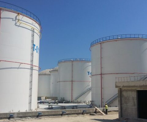 Sandblasting and painting internally and externally of a new oil depot at Vasiliko Oil terminal Cyprus