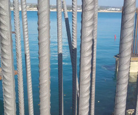 Rust removal from reinforcement bars at Ayia Napa Marina