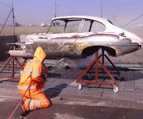 Jaguar body paint removal