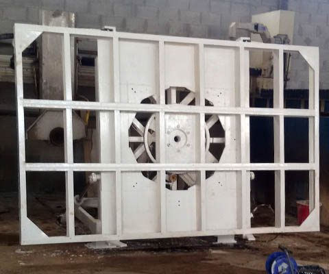 Removing rust and repainting of a marble cutting machine